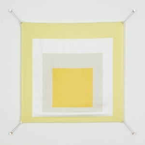 "Josef Albers and Hermès Hommage au carré (Homage to the Square): Joy 36"" x 36"" Edition of 200 Silk twill with a hand rolled hem Gift of Pierre-Alexis Dumas"